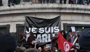 Manifestation on Republic Square in Paris against terrorism and in memory of the attack against  Charlie Hebdo.