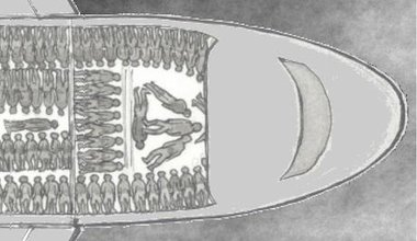 illustration of airplane packed with human beings evoking slave ship images
