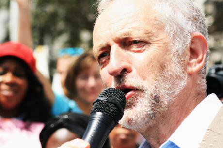 Jeremy Corbyn speaking at a rally