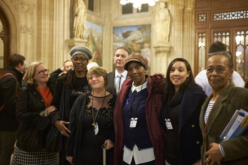 From left to right, Anna Susianta, Marcia Rigg, Tania El-Keria, Mark Saunders, Germaine Phillips, Lisa Cole and Stephanie Lightfoot Bennett at the launch of the campaign for legal aid for inquests in February 2019