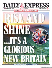 """Daily Express front page, 1 February 2020: """"Rise and shine... it's a glorious new Britain"""""""