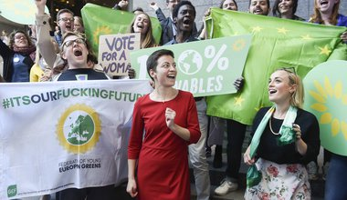 Arrival of Ska KELLER, lead candidate of the European Greens, at candidates for the Presidency of the European Commission/Eurovision Debate - EU Elections 2019-