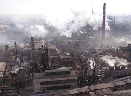 Smoke belching from metallurgical plant in the eastern city of Donetsk.