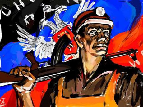 Patriotic fan art from the Donetsk People's Republic's VKontakte page. A miner carries a rifle against a background of the flag.