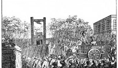 An etching depicting a woman with her jailor in a horse-drawn cart, being led to the guillotine