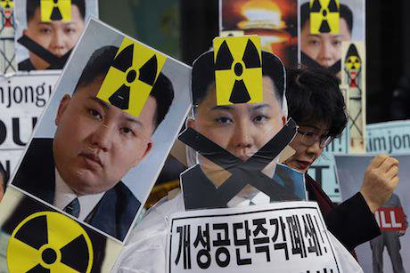 South Korean protesters at an anti-North Korea rally, February 2016, Seoul. Getty Images/Chung Sung-Jun. All rights reserved.