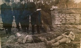 A poster showing women, including Rebecca Johnson, arrested after the silo dance at Greenham Peace Camp.