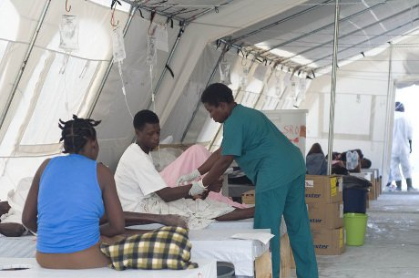 French organization Médecins San Frontieres is desperately fighting the cholera outbreak in Haiti. So far the epidemic has claimed 1,600 lives and MSF predict that the peak of infections has not been reached yet. Port-au-prince, Haiti. 26/11/2010
