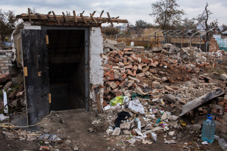 The remains of a home in the village of Semenivka, just outside Slovyansk, which was destroyed by shelling last year amid the co