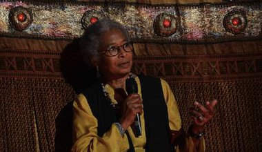 Alice Walker answers a question at the premier of Beauty in Truth
