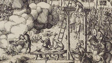 A depiction of people getting hanged, drawn and quartered.