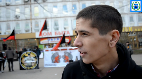 Igor Martynenko was fined 20,000 roubles (£340) for unveiling an anti-war flag at a (sanctioned) United Russia demonstration