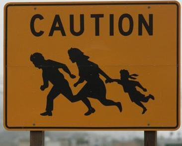 Sign on a freeway near the US-Mexico border
