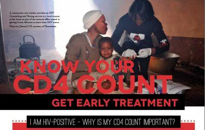 Poster of woman, child and health worker with text 'Know your CD4 count - get early treatment'