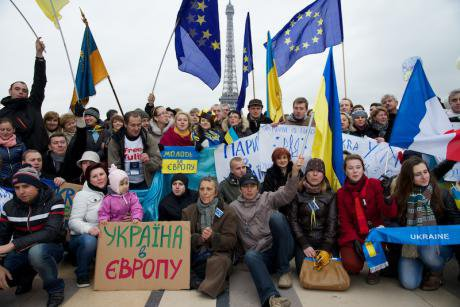Protest in solidarity with the Euromaidan, Paris 2013.