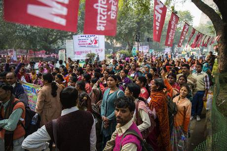 Large group of protestors, India