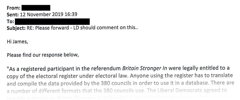 A clipping from the email that the Lib Dems press team claimed to have sent us on 12 November 2019