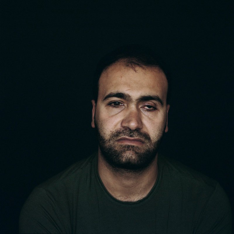 Portrait of a 33-year-old Palestinian man left completely blind from a sponge-tipped bullet