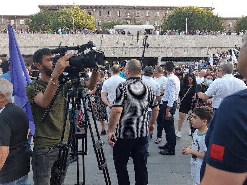 Media is politicized. Media TV companies, websites, Facebook pages, Telegram channels take part of the political campaign or are used by the political forces' ', explains media specialist for media.am, Gegham Vardanyan. Journalists in a Koc.jpg