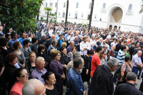 Participants in Sukhumi's 'People's Assembly' which ended in an attempt to seize government buildings.