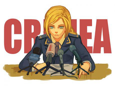 One of at least dozens of anime style fan drawings of Crimea's prosecutor at her press conference.