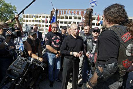 President Putin meets with members of the 'Night Wolves' a Russian Orthodox motorcycle gang.