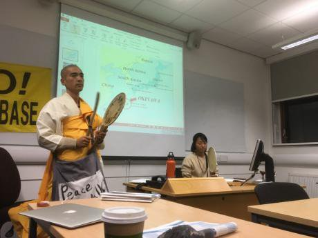 Kamoshita and Aihara at their talk in  London on 1 February jointly organised and hosted by Voices for Creative Non-Violence UK