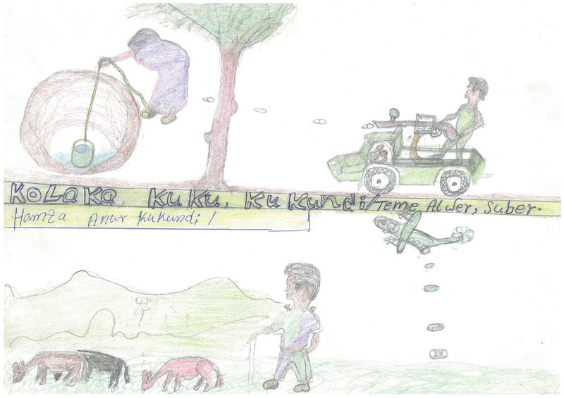 Child's drawing showing pickup-mounted gun  firing at a woman drawing water from a well