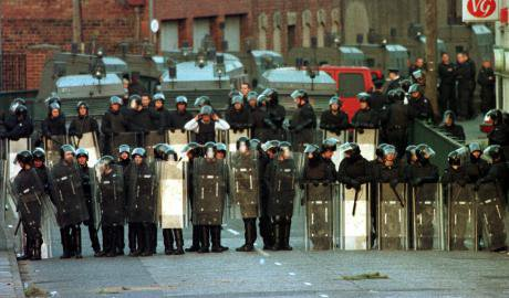 RUC police in riot gear in 1998.