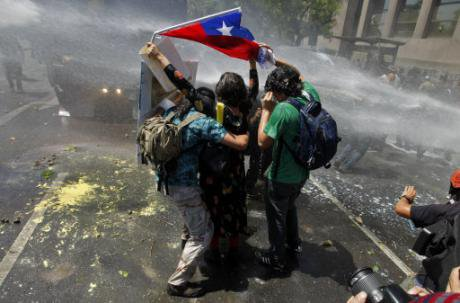 Protesters during the 2011 demonstrations in Chile. Aliosha Marquez/Press Association. All rights reserved.