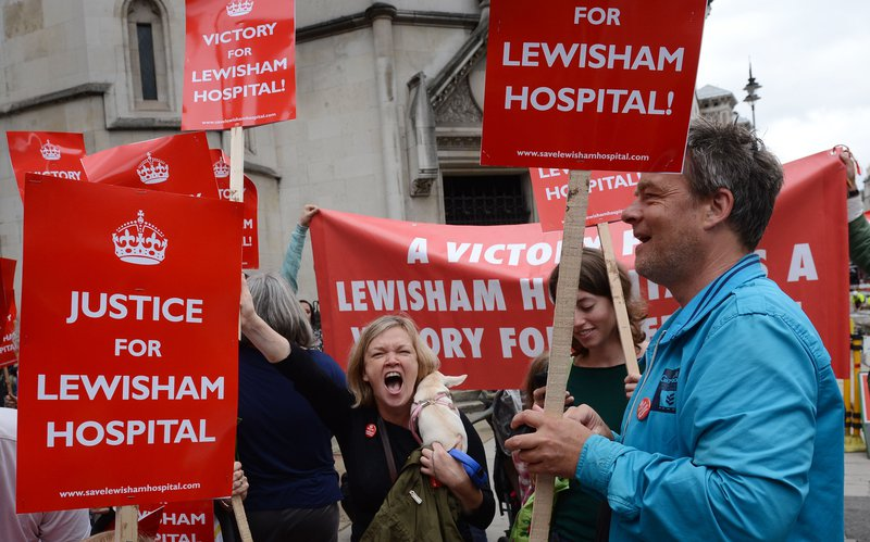 Save Lewisham Hospital campaigners celebrate a High Court ruling preventing services being reduced at the hospital.