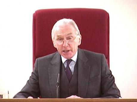 Lord Hutton announcing the results of his inquiry into the events surrounding the death of Government scientist Dr David Kelly,