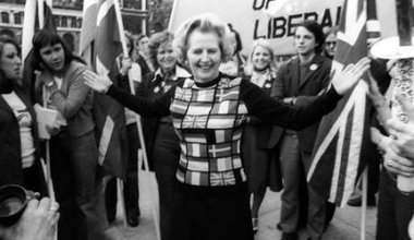 Opposition Leader Margaret Thatcher shows her European colours in Parliament Square, June 1975.