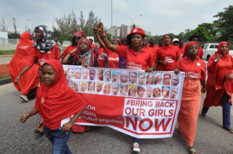 A march by the Bring Back Our Girls campaign outside the presidential residence in Abuja, July 2015. (AP Photo/Olamikan Gbemiga)