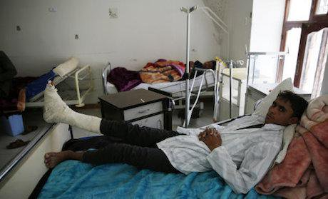 A Yemeni man who was injured by the recent a Saudi-led airstrike.