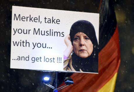 Protest poster at PEGIA demonstration( Patriotic Euopeans againt Islamisization of the West).