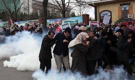 Teargas used against protesters outside Zaman newspaper headquarters, Istanbul, 2016. AP/Press Association. All rights reserved.