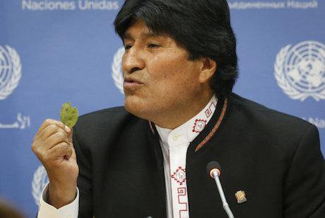 Bolivia president Evo Morales holds up a coca leaf at UNGASS press conference. B. Matthews/AP/PA Images. All rights reserved.