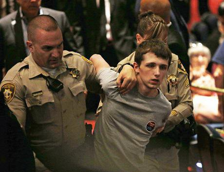 Michael Sandford allegedly tried to shoot Donald Trump. Credit: John John Locher; AP/PA. All rights reserved.