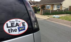 An anti-EU Leave campaign sticker affixed to a car in Canvey Island, Essex. The seaside town had one of the highest leave votes