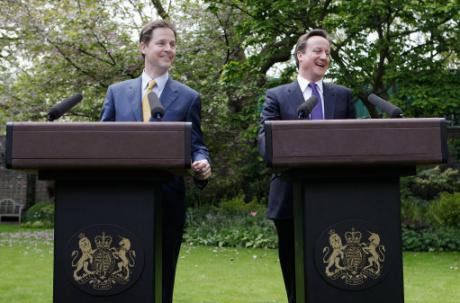 Nick Clegg and David Cameron at the first press conference of their coalition government