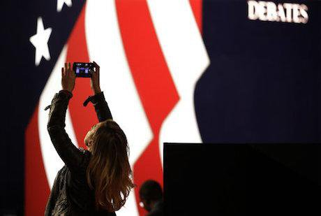 The stage for Monday's debate. Julio Cortez/AP/Press Association Images. All rights reserved.