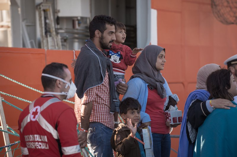 A migrant family rescued by Operation Sophia in 2016.