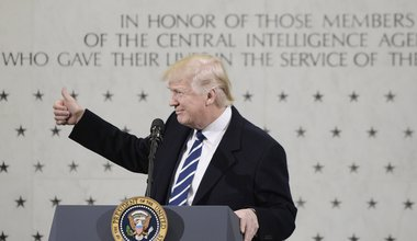 """Donald Trump speaks to 300 people at the Central Intelligence Agency (CIA) headquarters January 21, 2017 in Langley, Virginia. In his remarks Trump explained the CIA was his first visit because the """"dishonest media"""" has made it appear he was having a feud"""