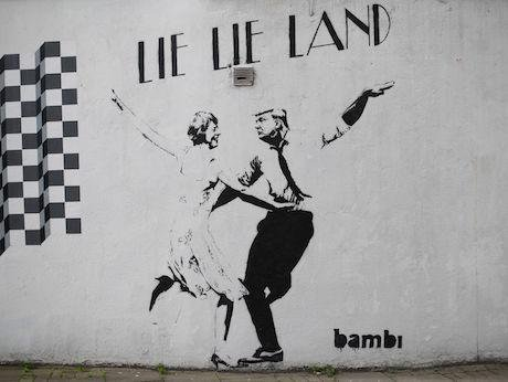 Theresa May-Donald Trump piece by street artist Bambi. Yui Mok/PA Wire/PA Images. All rights reserved.