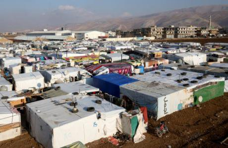 A Syrian refugee camp in the Bekaa Valley, Lebanon, close to the Syrian border, December 2016. (Jane Barlow, PA Images)