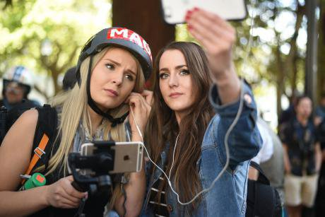 Alt-right videocasters Lauren Southern and Brittany Pettibone.