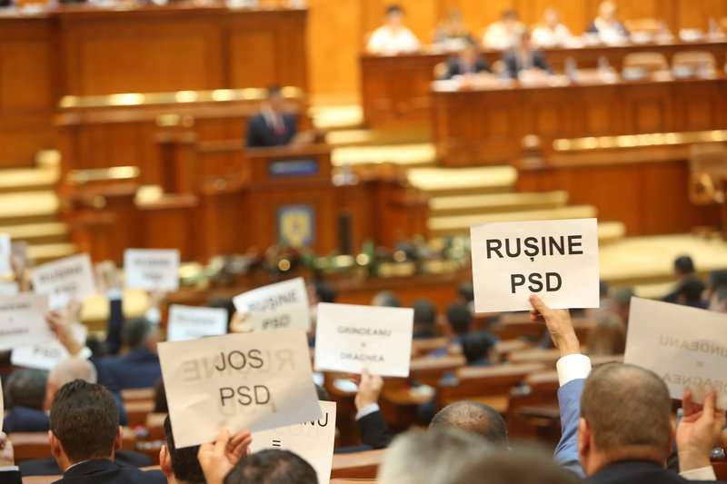 Bucharest, Romania: a no-confidence motion topples the social-democrat government led by Sorin Grindeanu, June 21, 2017.