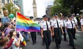 Members of the PSNI join the Belfast Pride parade.