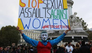 Women protest against sexual violence in Paris.